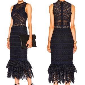Jonathan Simkhai lattice trumpet navy black dress